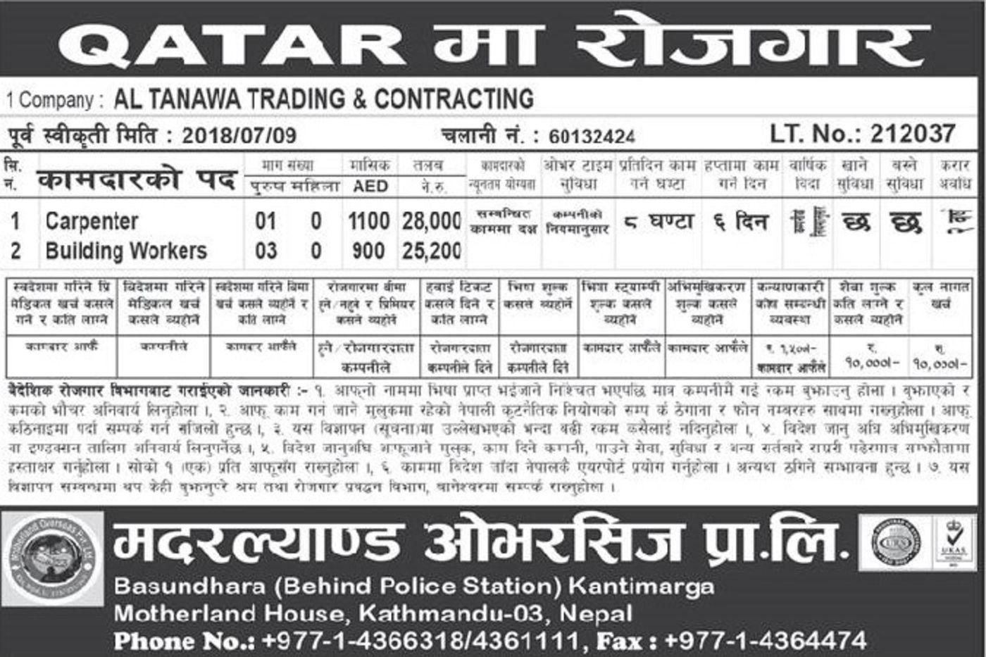 Jobs Nepal - Vacancy - Carpenter, Building Workers - AL Tanawa