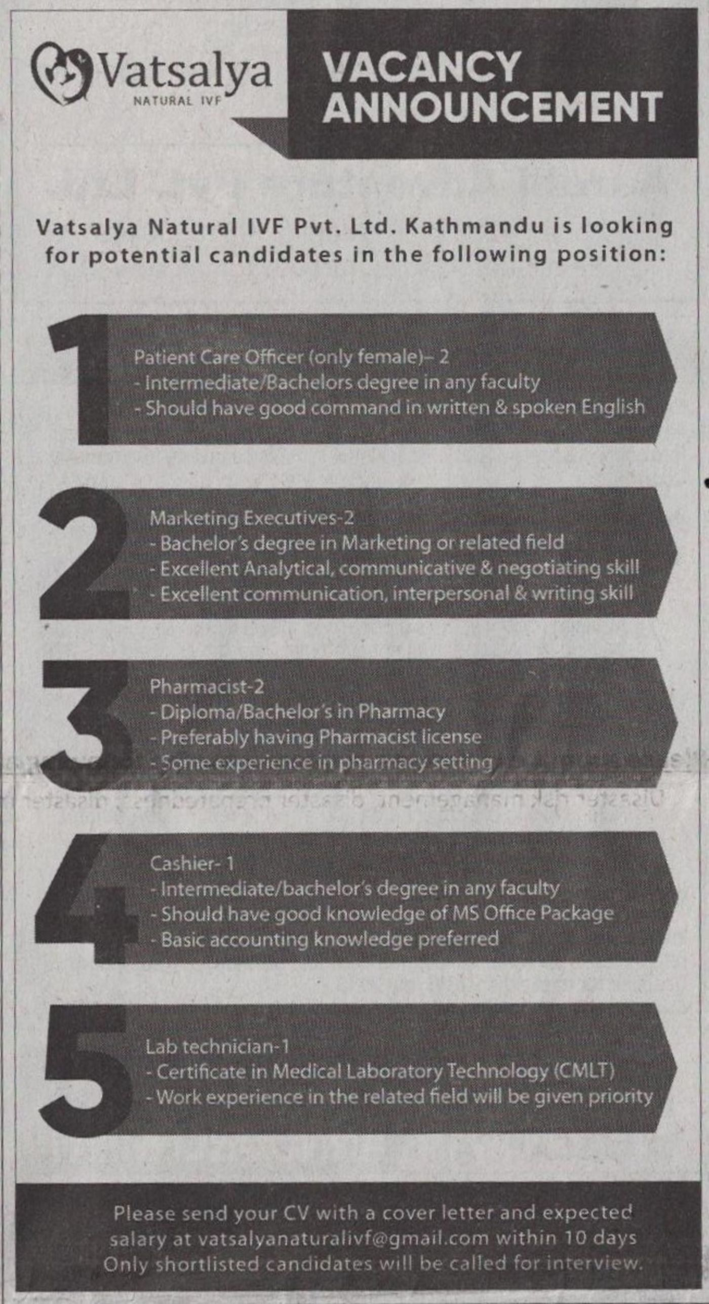 Jobs Nepal - Vacancy - Patient Care Officer, Marketing
