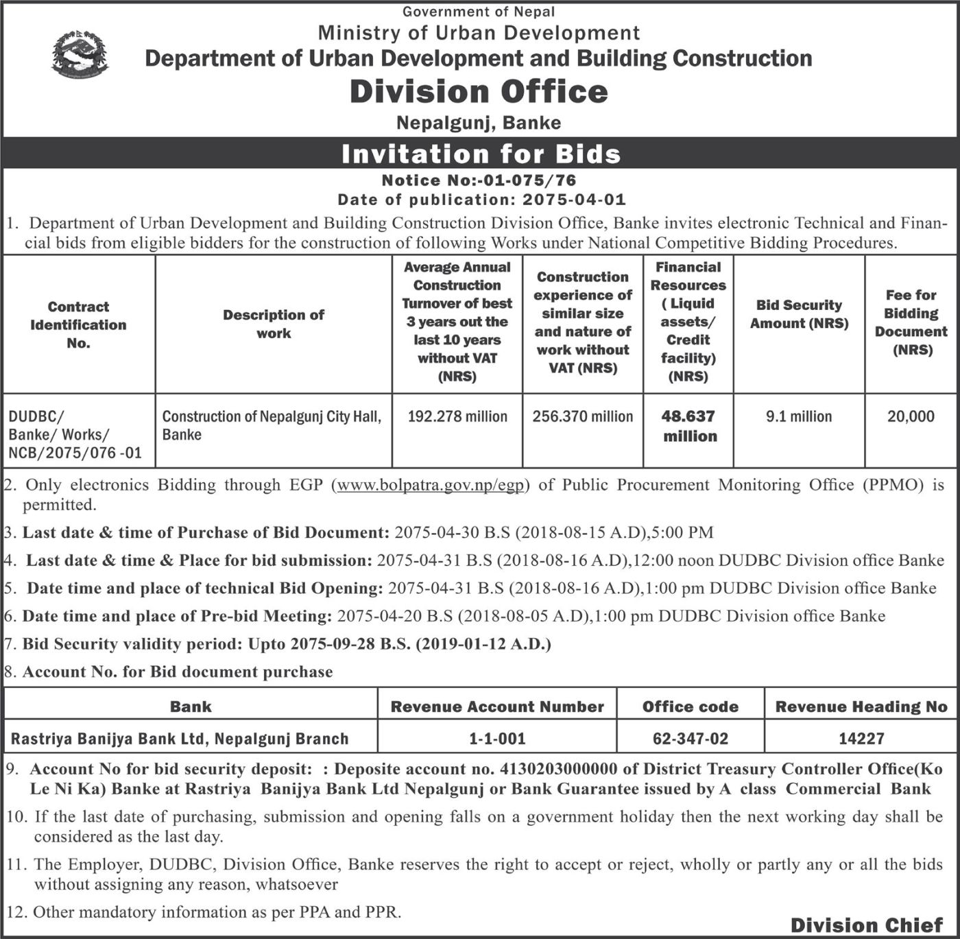 bids and tenders nepal invitation for bids construction of
