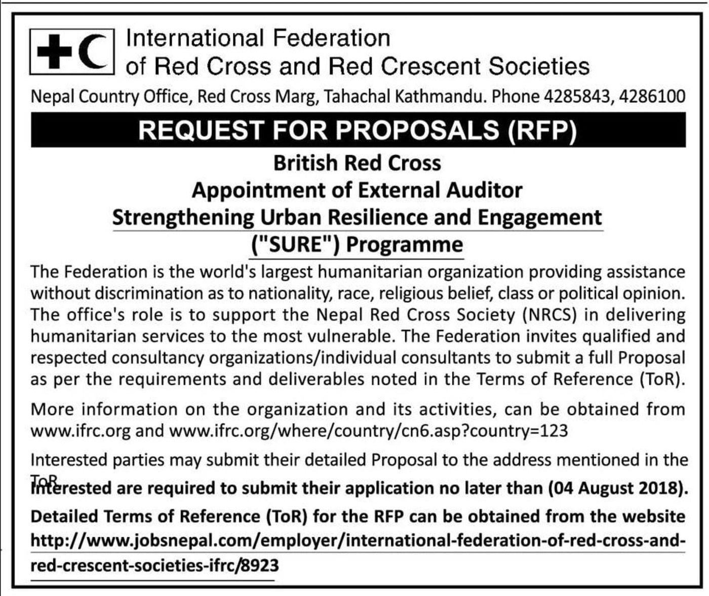 Bids and Tenders Nepal - RFP - British Red Cross - Appointment of