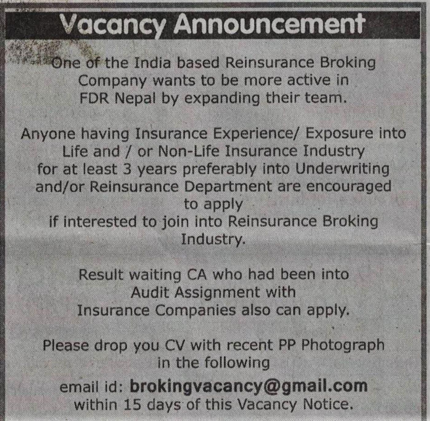 Jobs Nepal - Vacancy - Insurance Experts - ( Domestic Jobs )