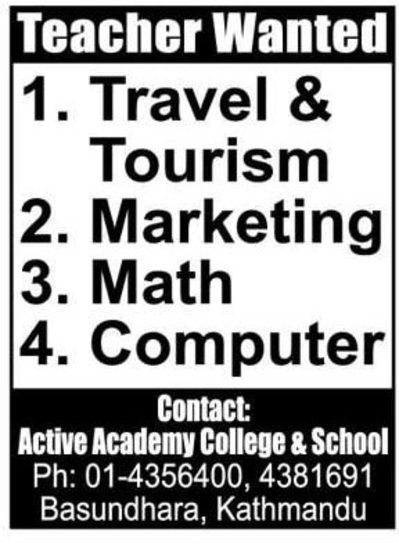 Jobs Nepal - Vacancy - Travel & Tourism, Marketing, Math and