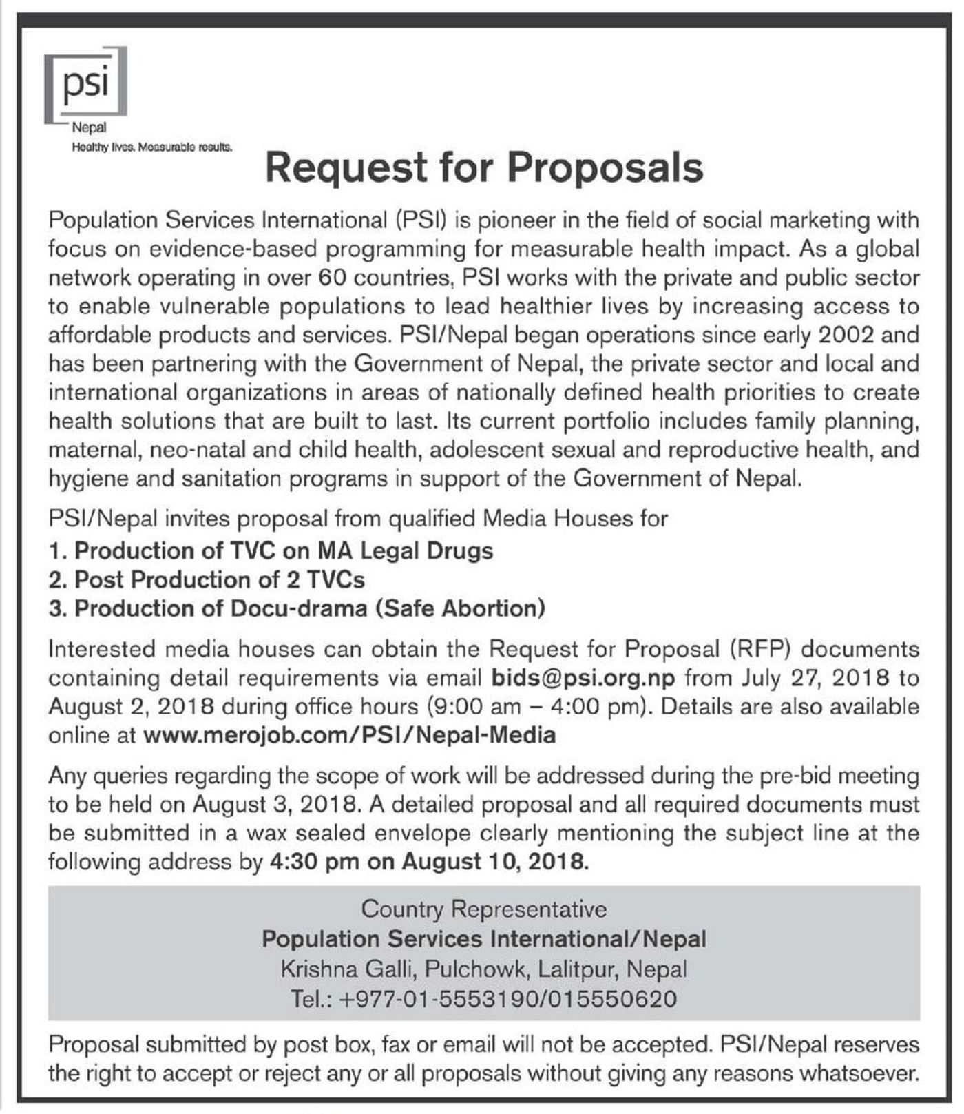Bids and Tenders Nepal - RFP - Production of TVC on MA Legal Drugs