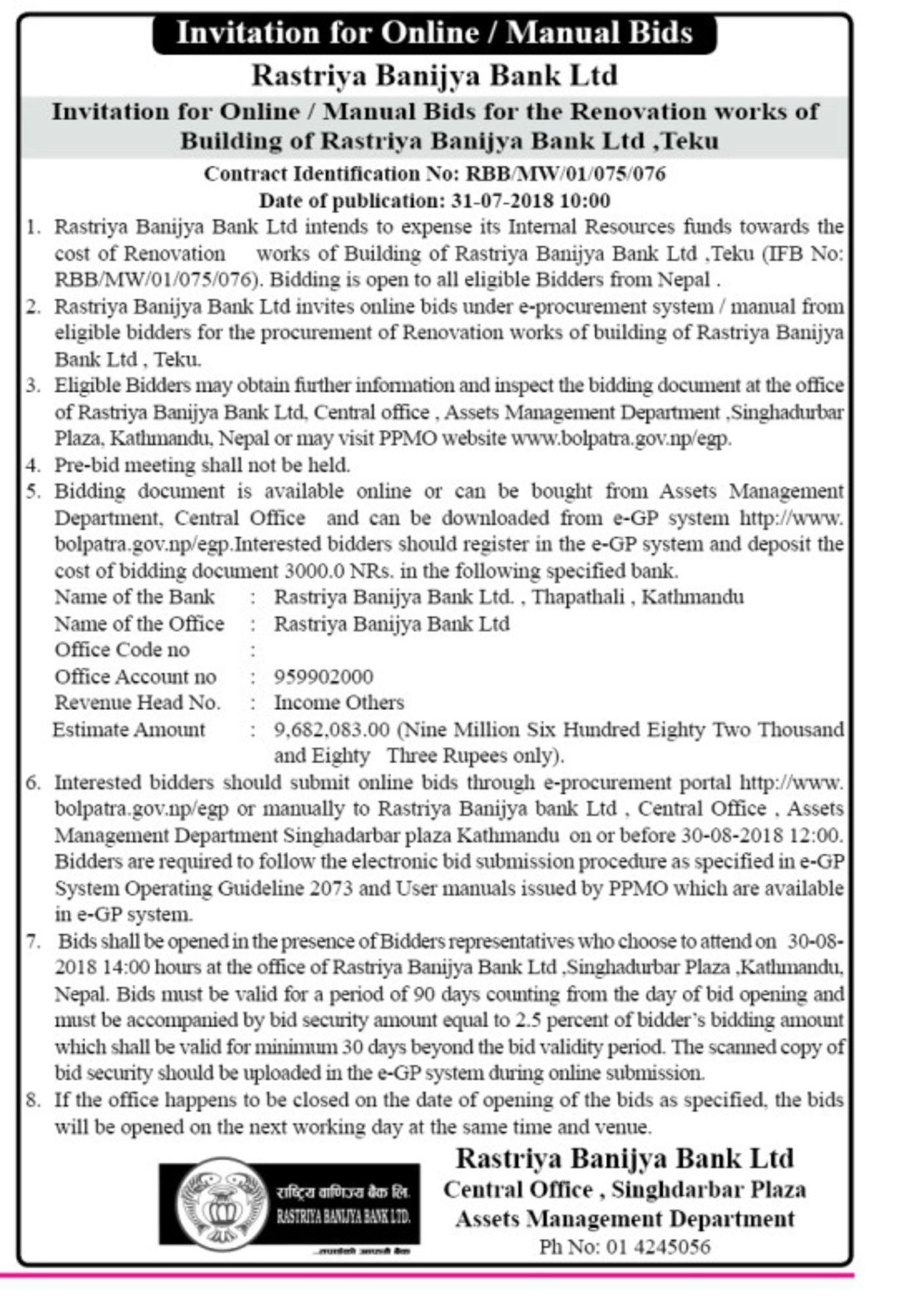 Bids and Tenders Nepal - Invitation for Bids - Renovation Work of