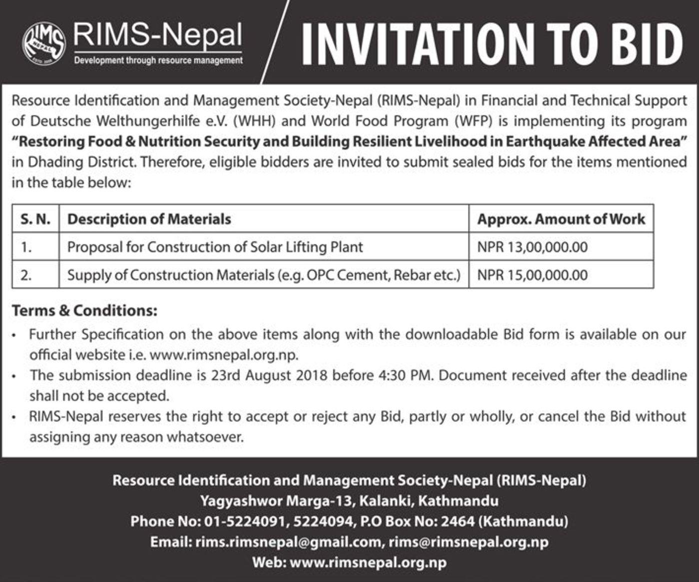 Bid Proposal   Invitation For Bid Proposal For Construction Of Solar Lifting