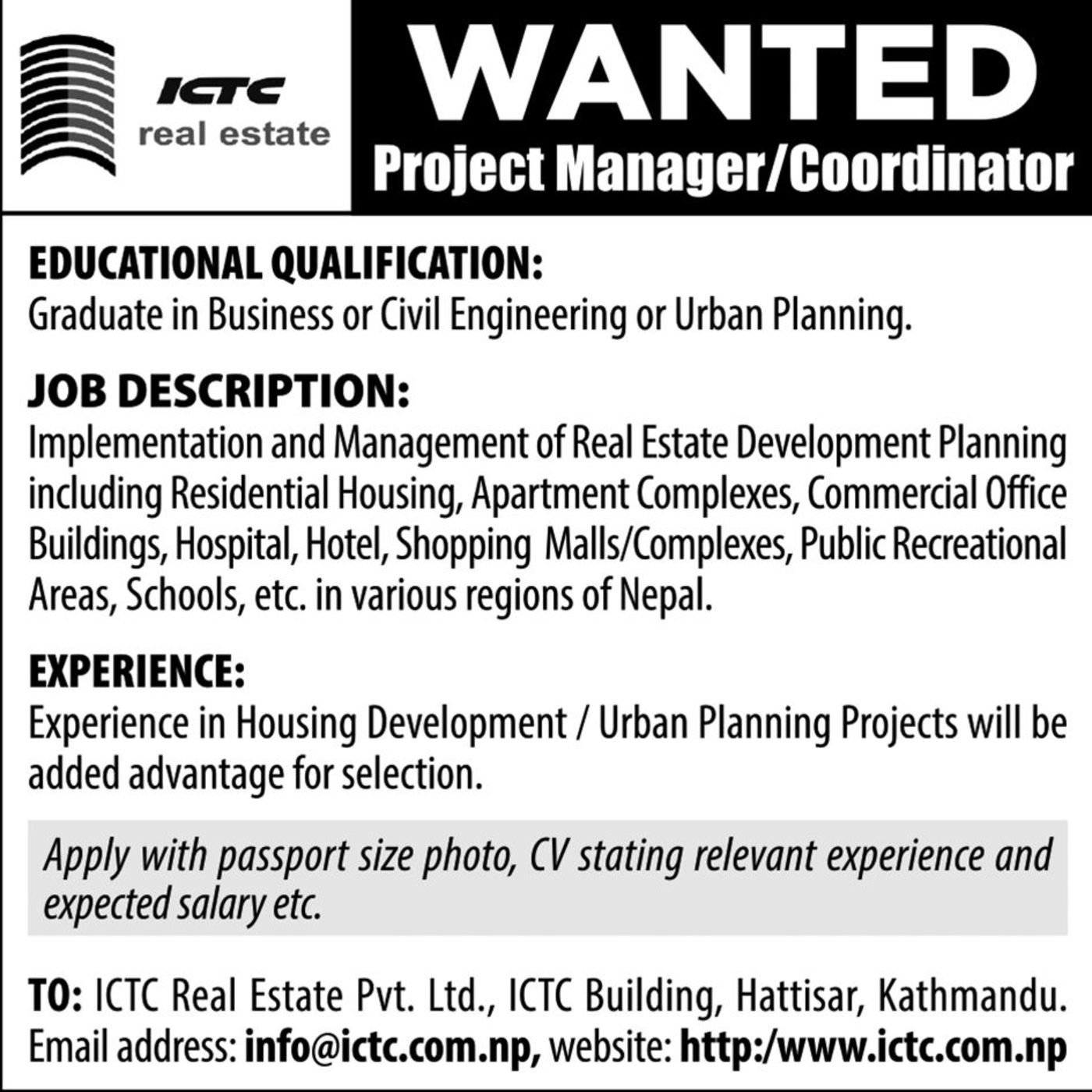 Jobs Nepal - Real Estate Vacancy - Project Manager