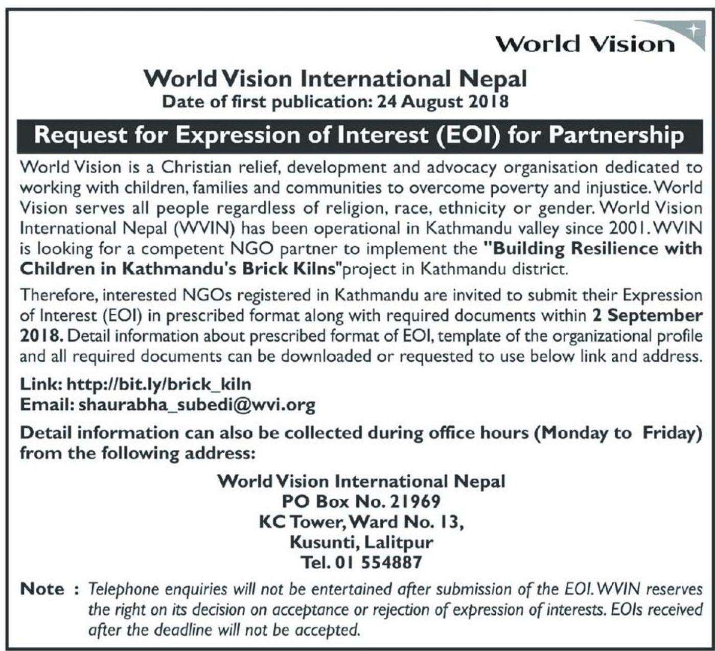Bids and Tenders Nepal - INGO EOI for Partnership with NGO to