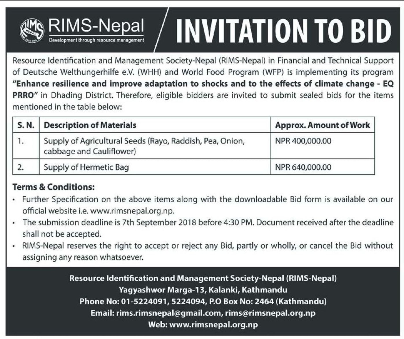 Bids and Tenders Nepal - NGO Bids - Supply of Agricultural Seeds