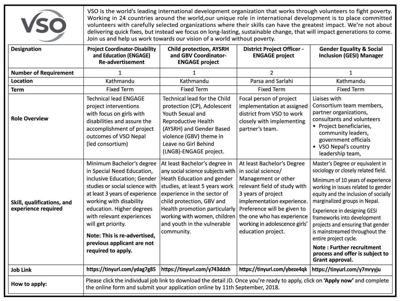Jobs Nepal - INGO Vacancy - Project Coordinator, Child