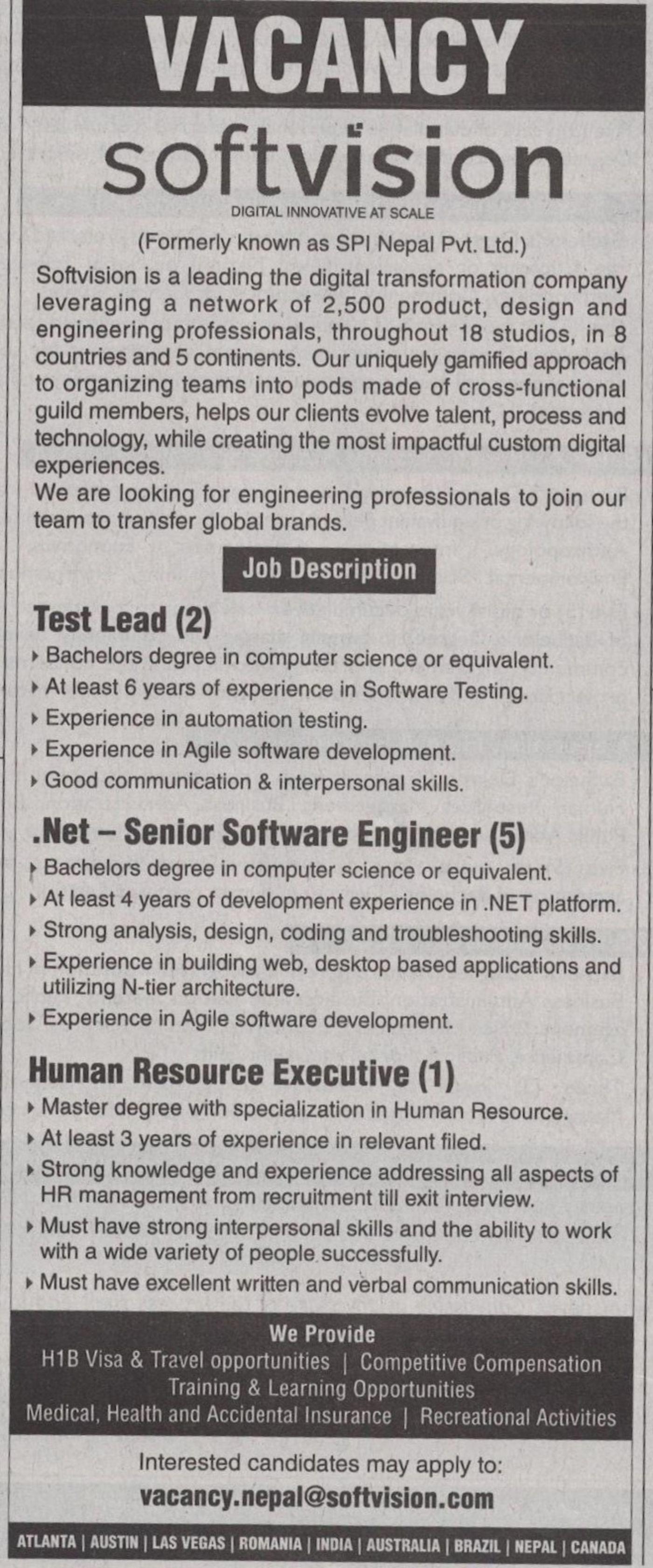 Jobs Nepal - Vacancy - Test Leader, Senior Software Engineer