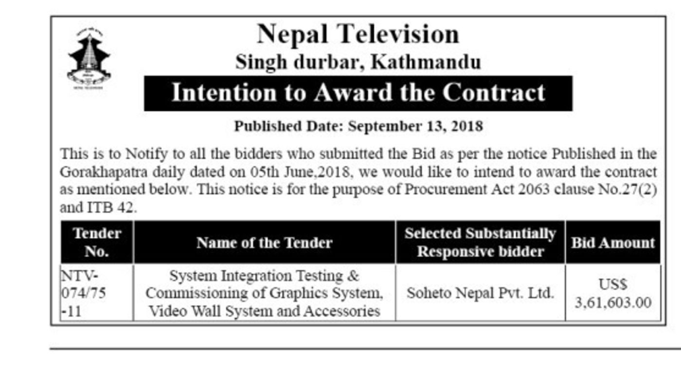 Bids and Tenders Nepal - Letter of Intent - System