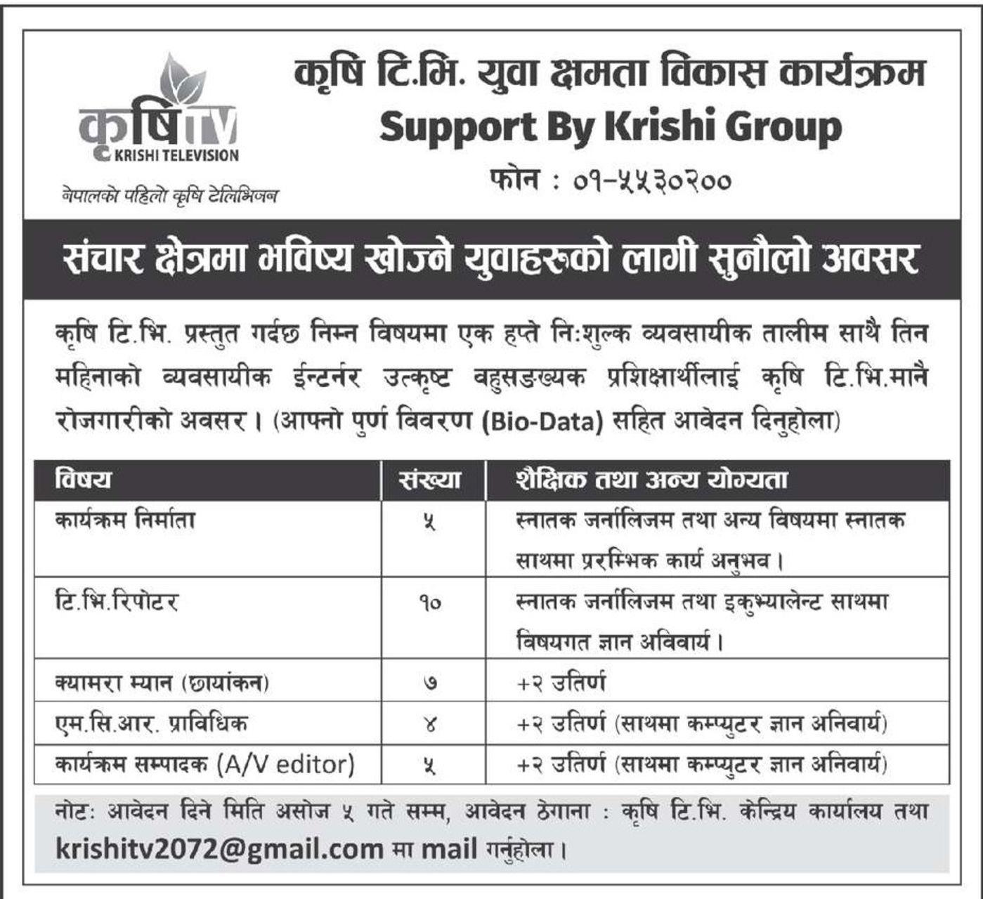 Jobs Nepal - TV Vacancy - Programe Producer, T V  Reporter