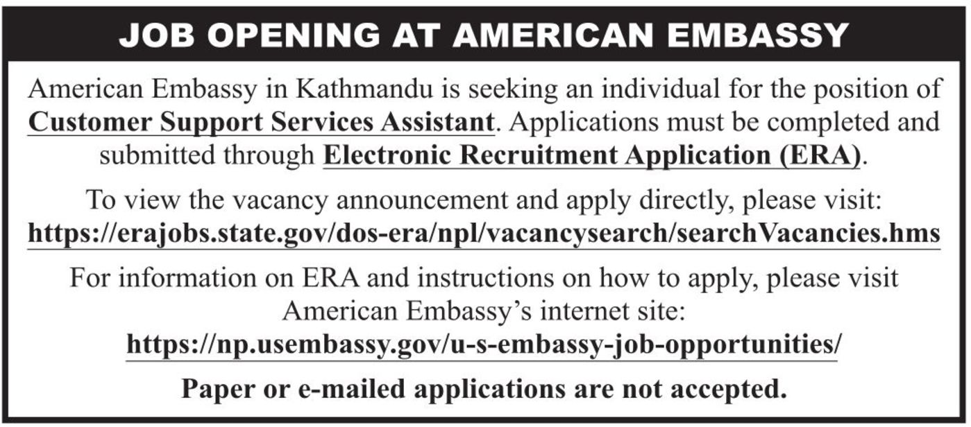Jobs Nepal - Vacancy - Customer Support Services Assistant - US