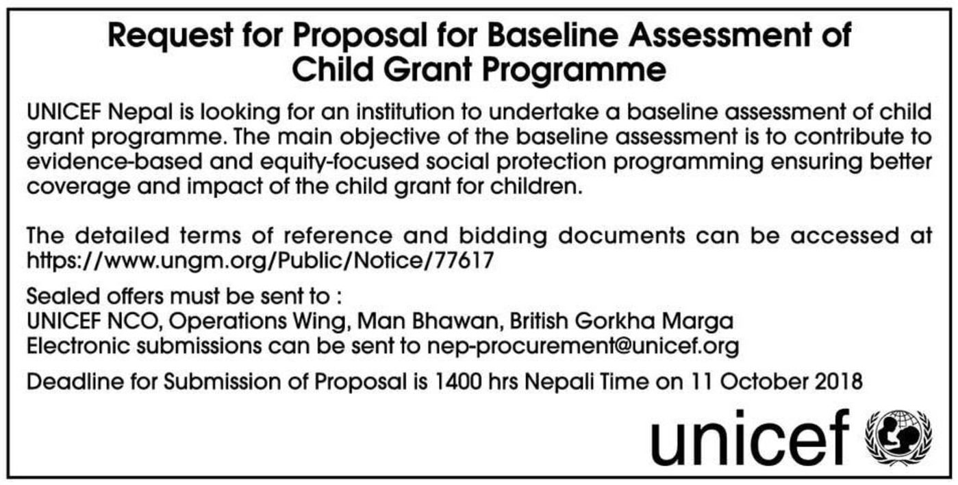 Bids and Tenders Nepal - RFP - For Baseline Assessment of Child