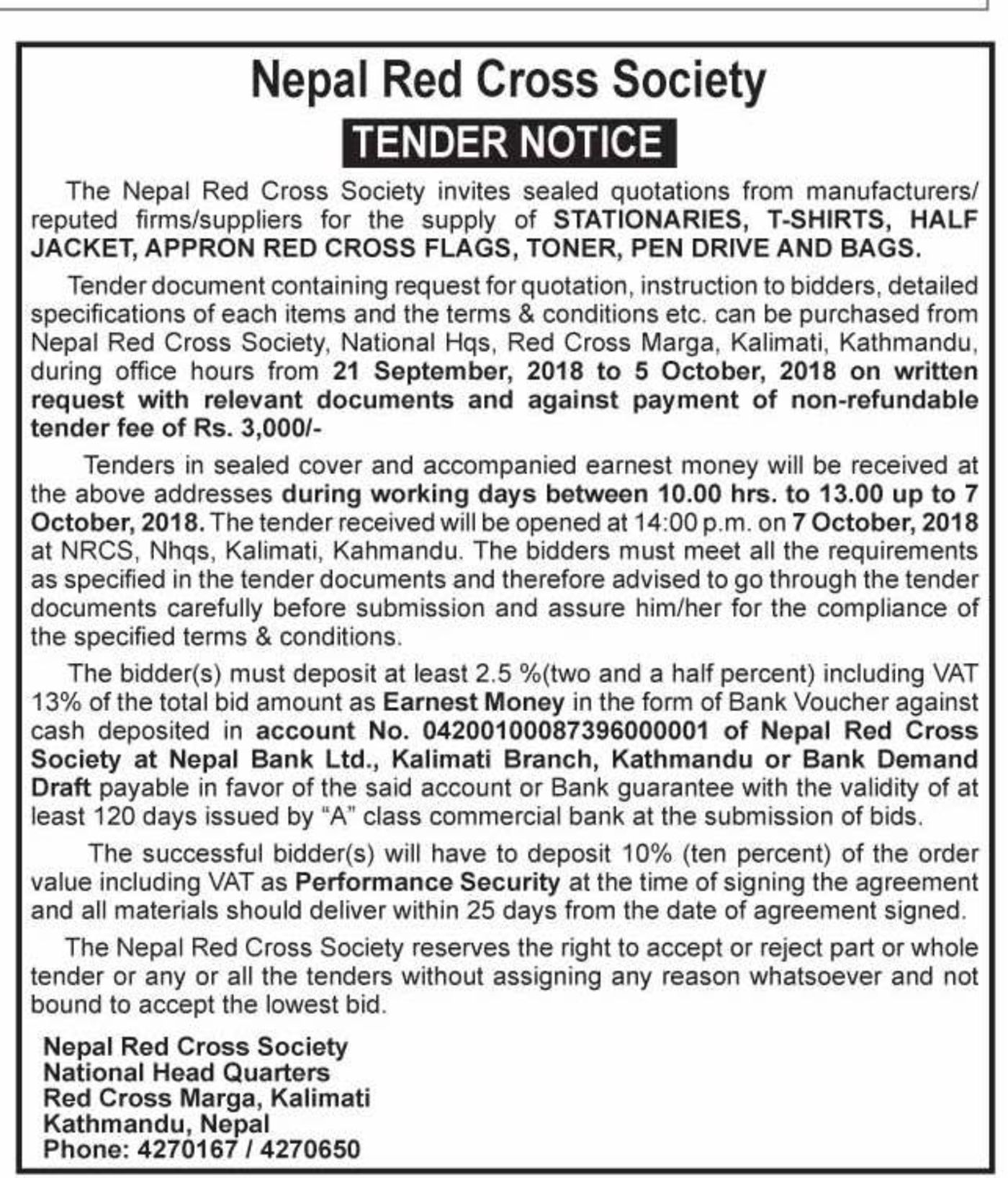 Bids and Tenders Nepal - Tender - Supply of Stationery, T-Shirts