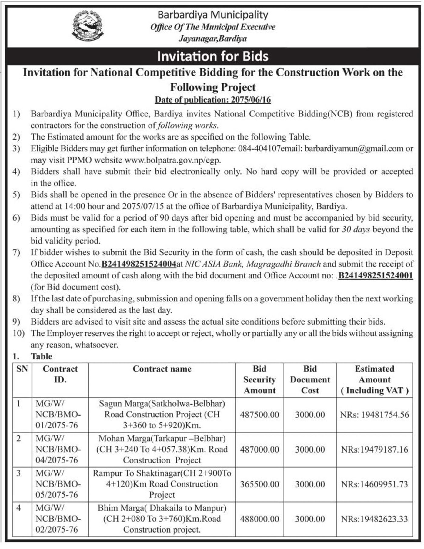 bids and tenders nepal invitation for bids national competitive
