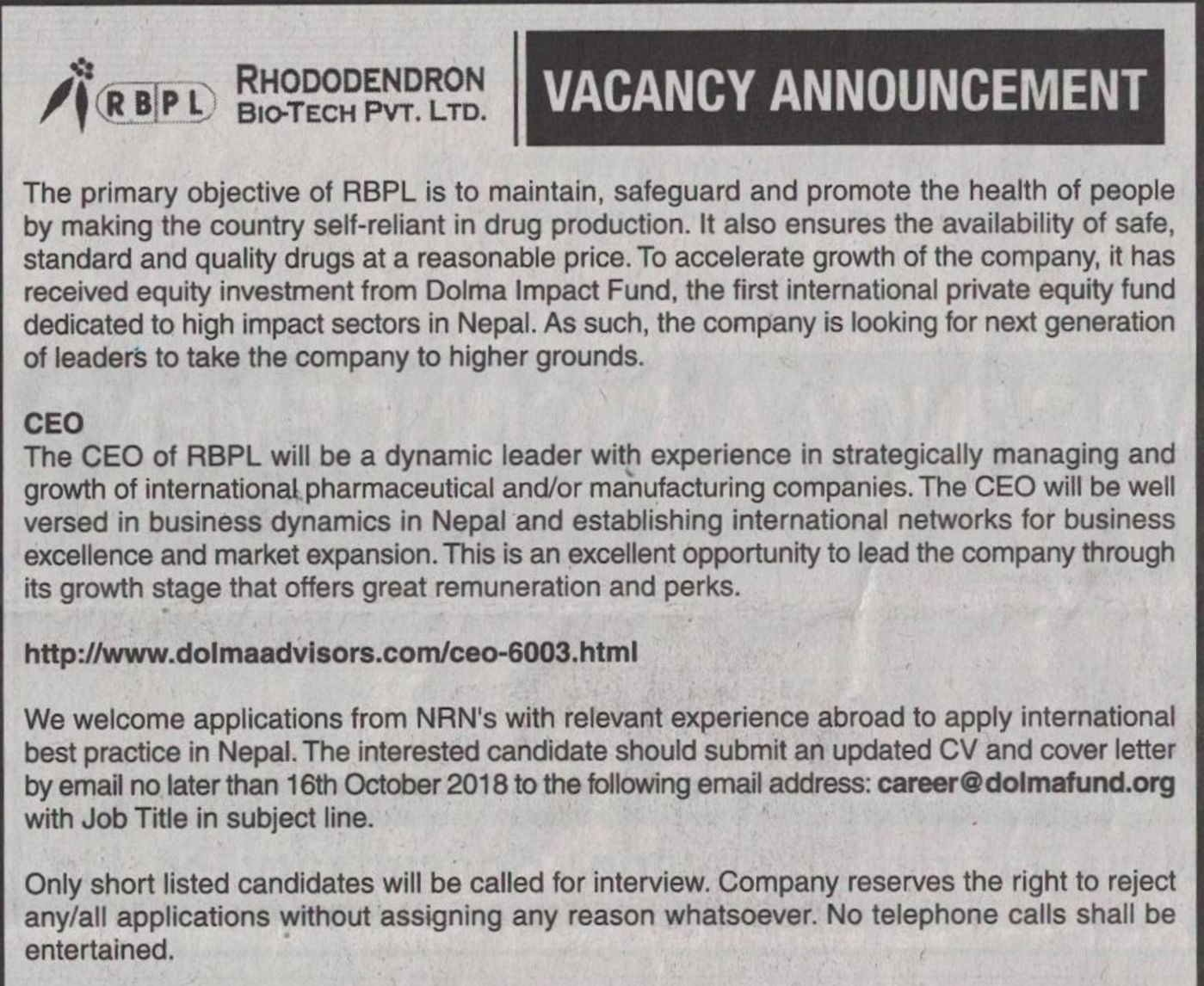 Jobs Nepal - Vacancy - CEO (Chief Executive Officer) - ( Domestic Jobs )
