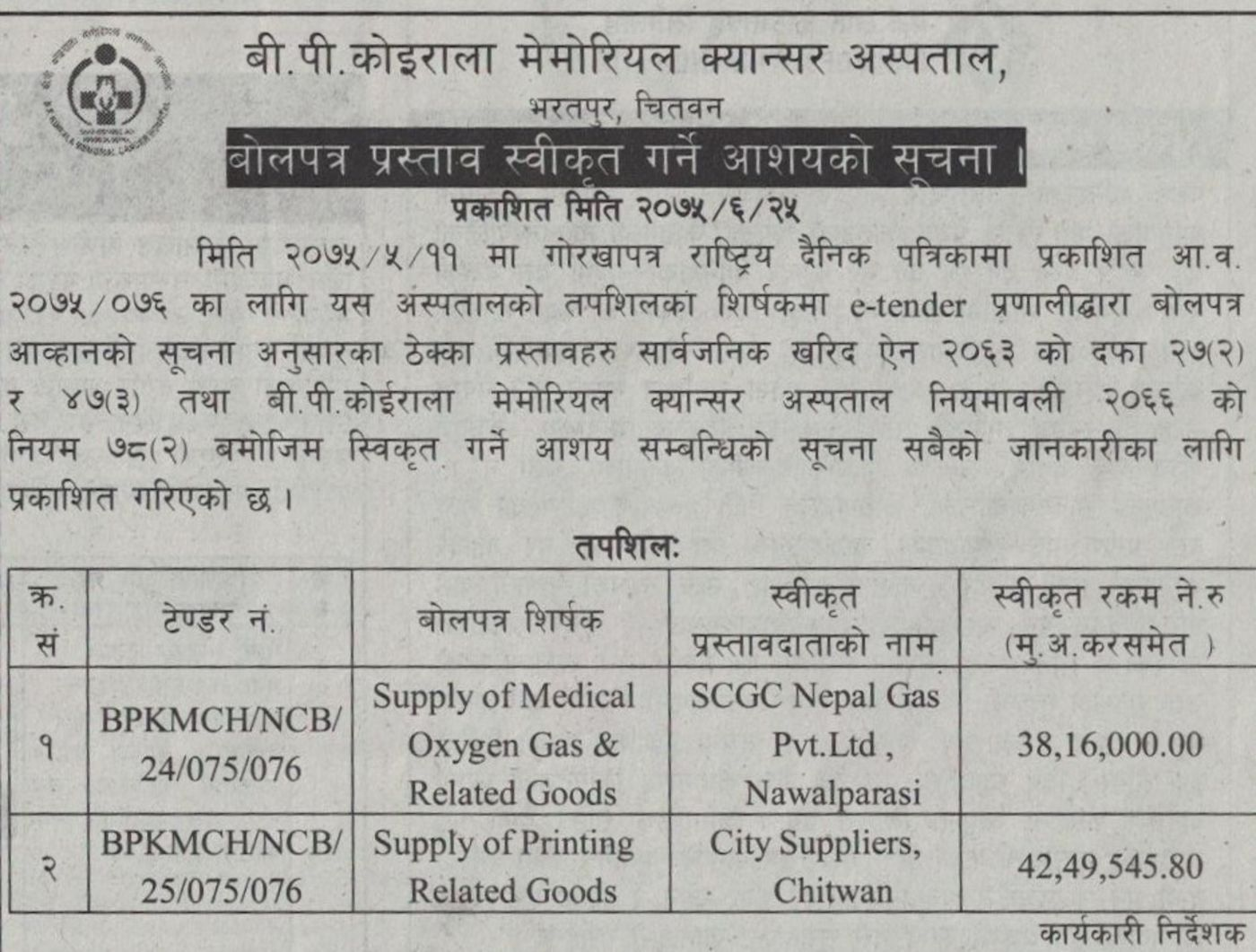 letter of intent supply of medicine gas and related goods and printing related goods