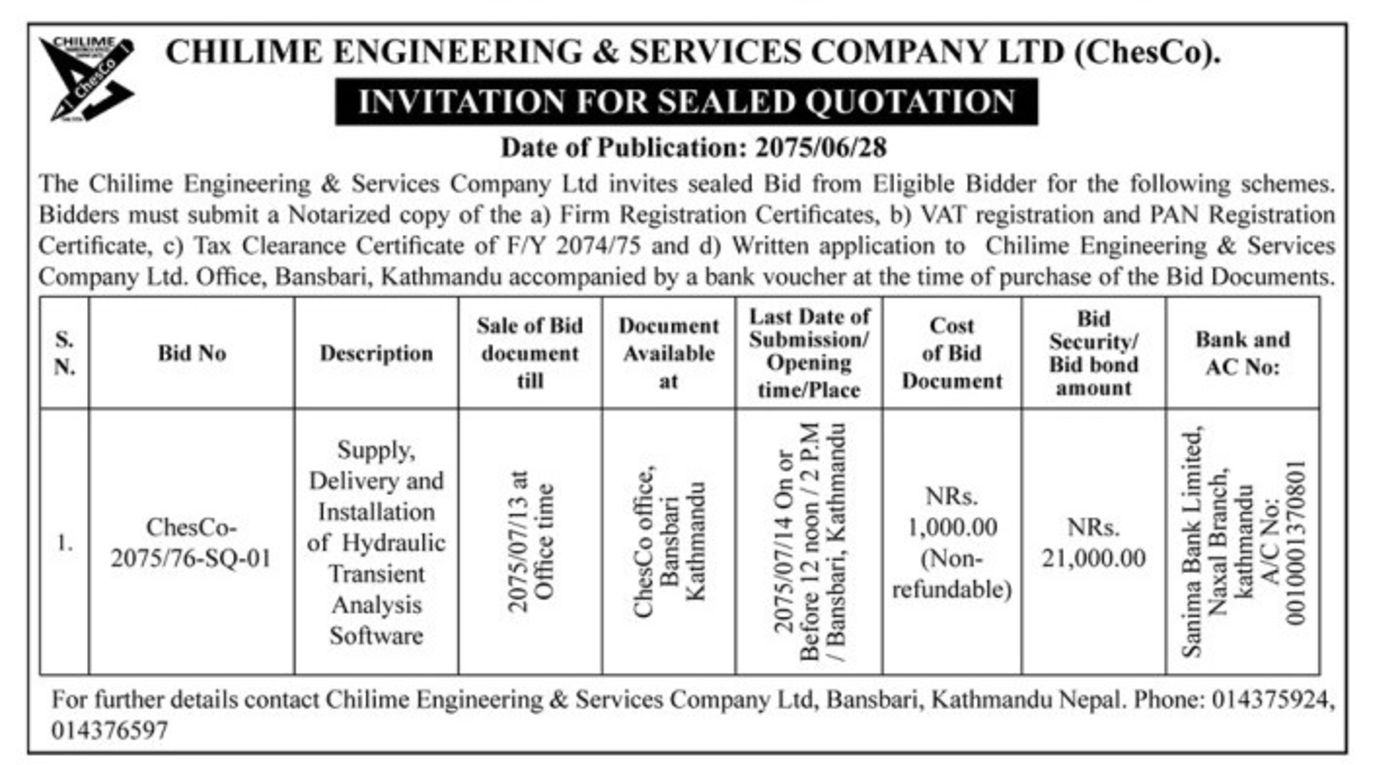 Bids and Tenders Nepal - RFQ - Supply, Delivery and