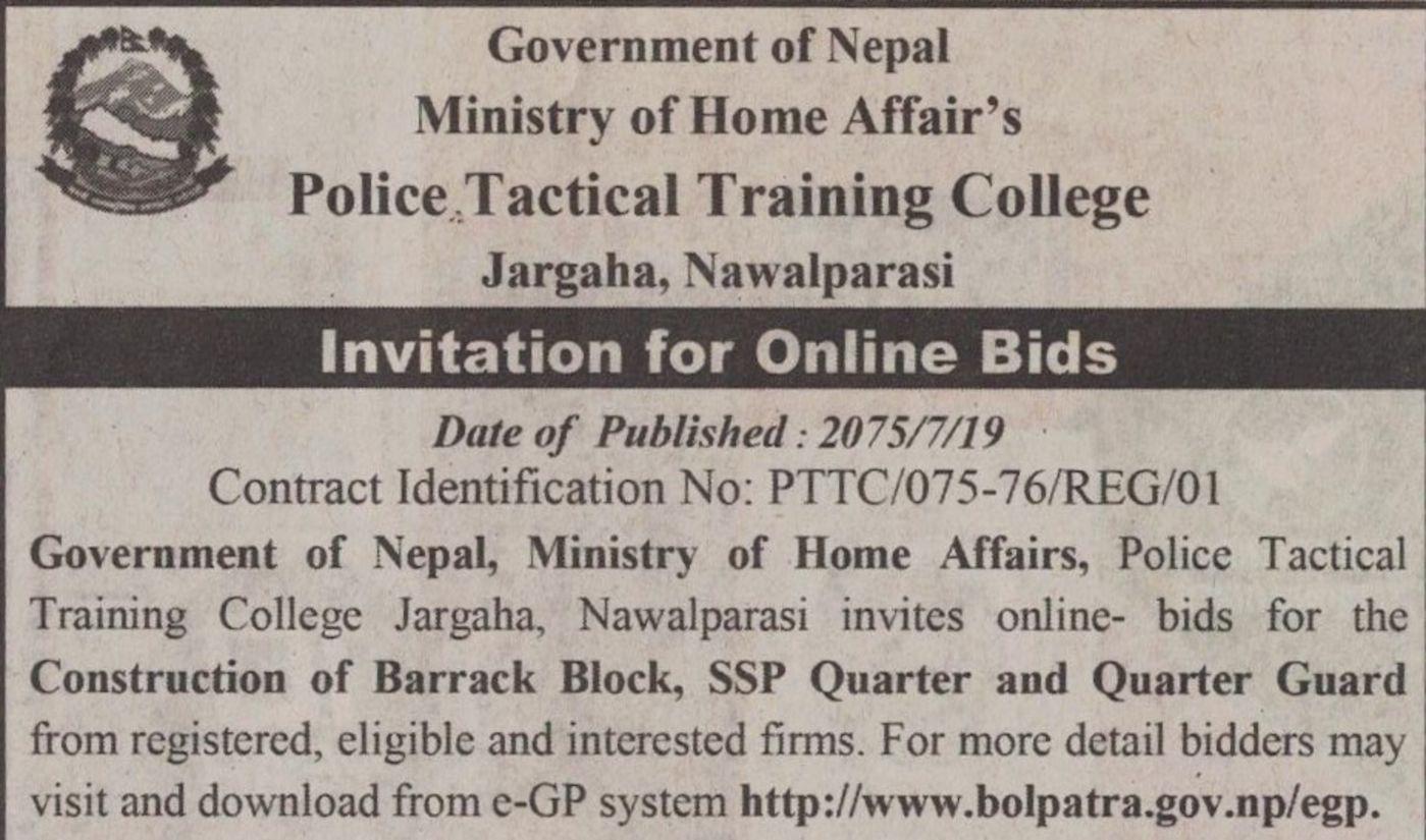 Bids and Tenders Nepal - Invitation for Online Bids