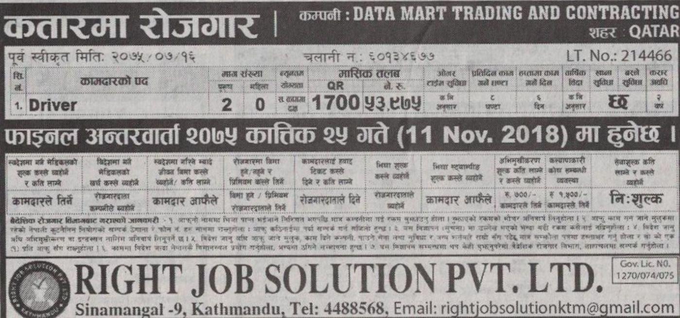 Job Solution 2018