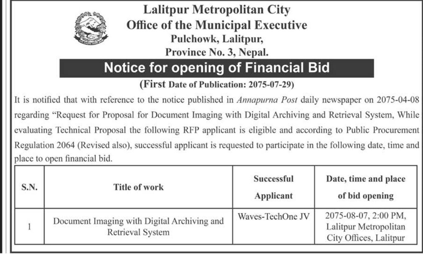 Bids and Tenders Nepal - Notice for opening of Financial bid