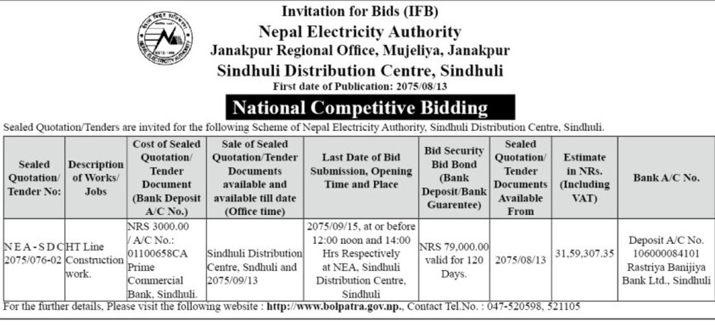 bids and tenders nepal invitation for bids ht line construction