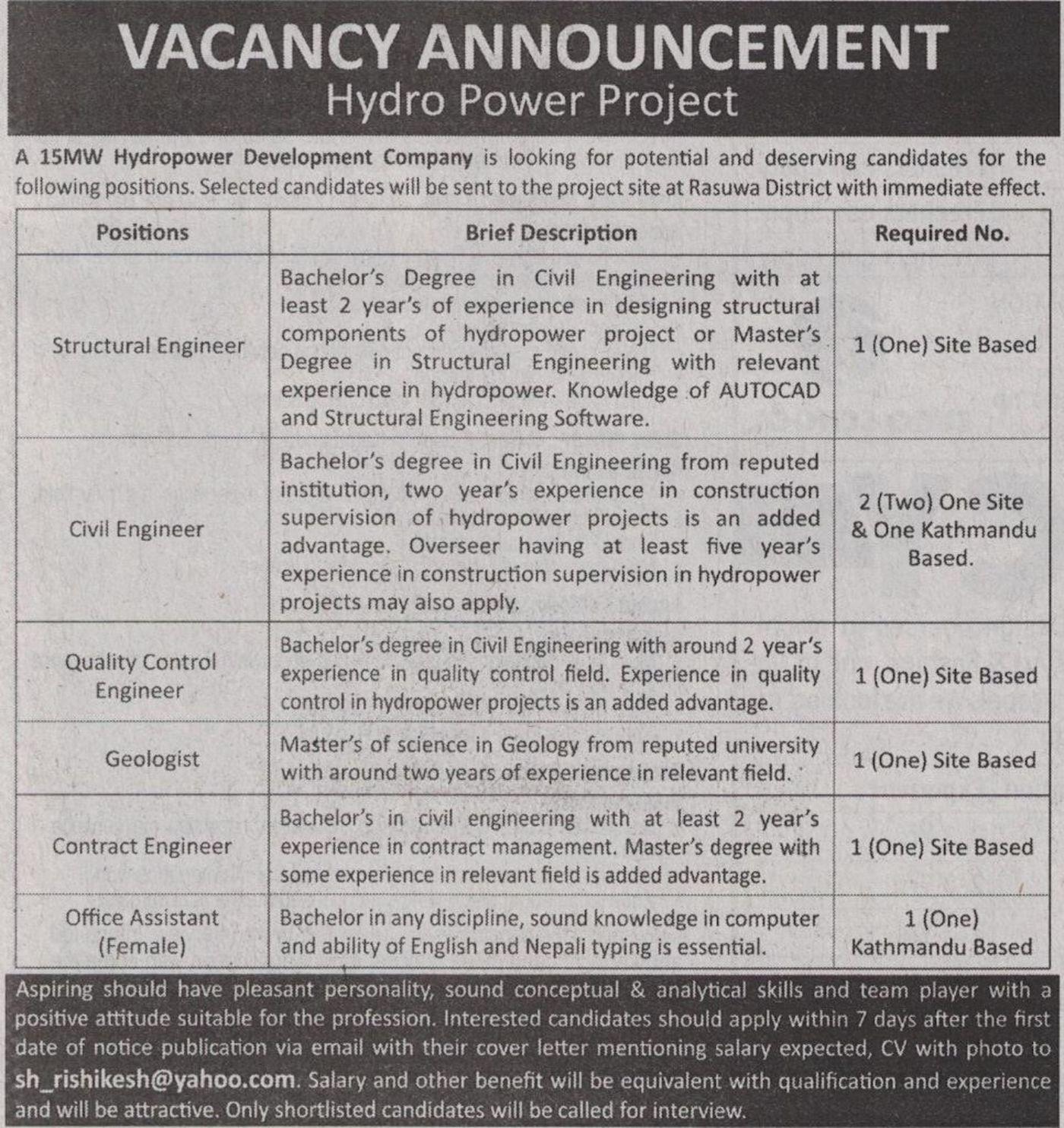 Jobs Nepal - Vacancy - Structural Engineer, Civil Engineer