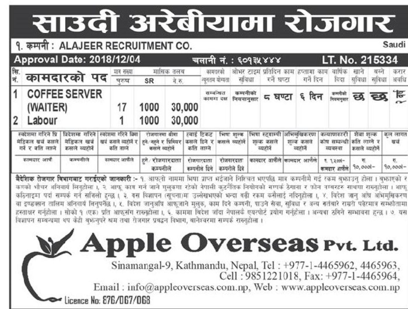 Jobs Nepal - Vacancy - Waiter ,Labor,- Applo Overseas Pvt