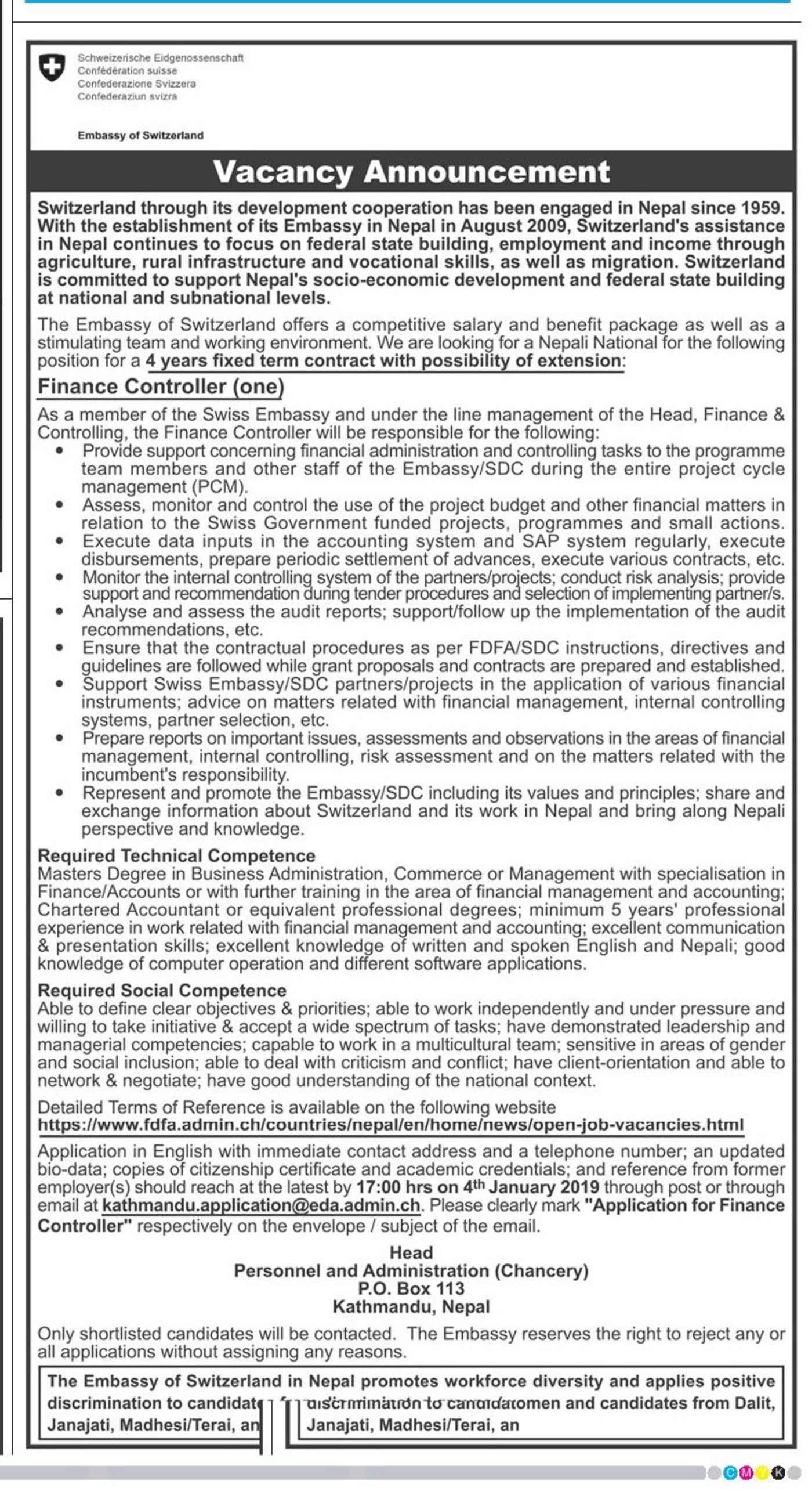 Jobs Nepal - Vacancy - Finance Controller , Technical Competent