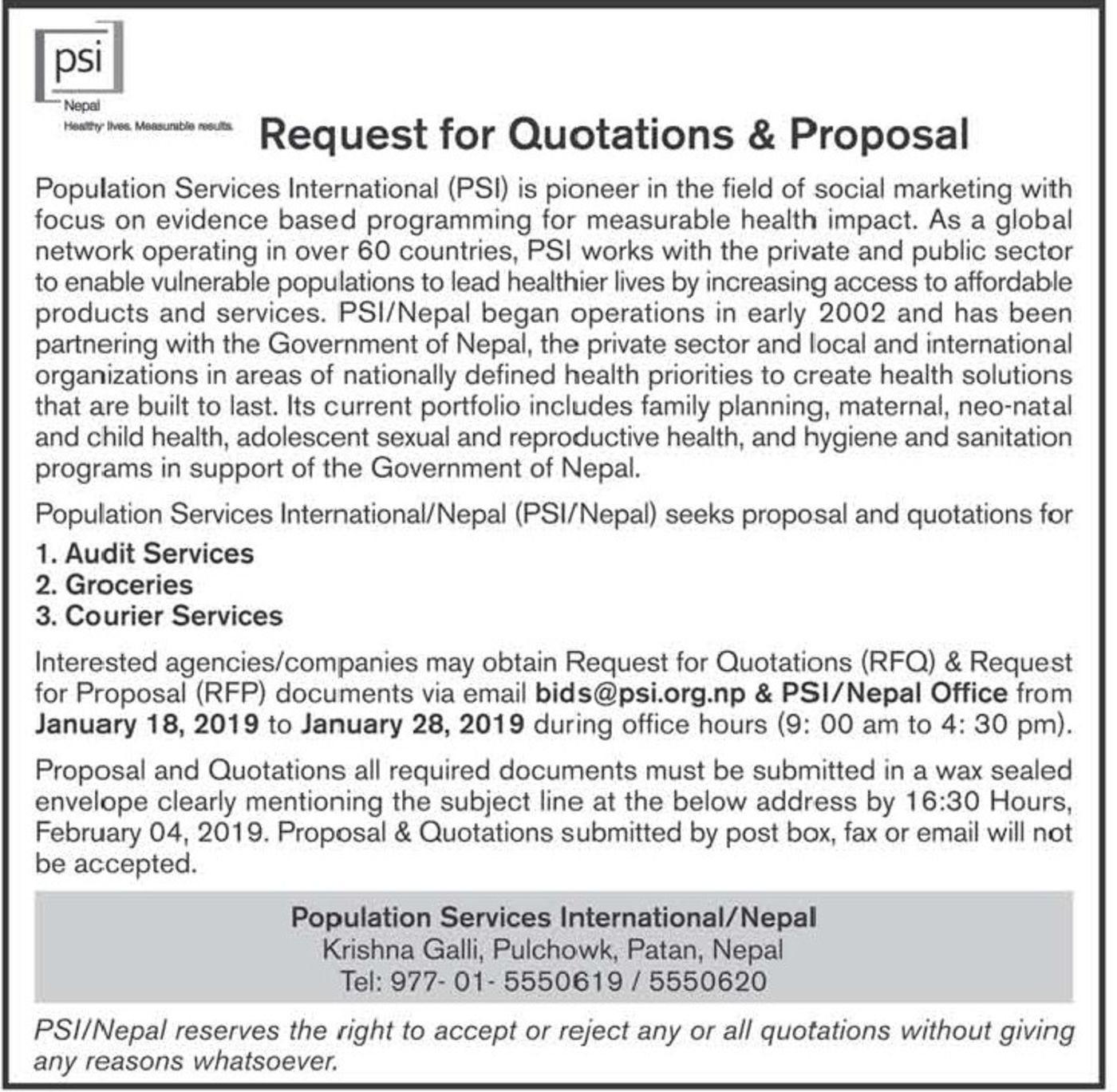 Bids and Tenders Nepal - Request For Proposal - Audit Services