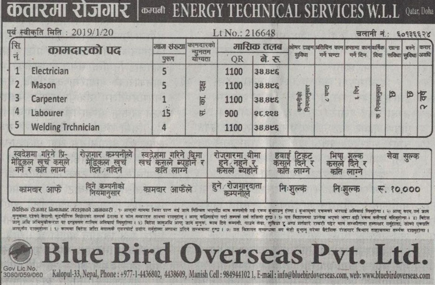 Jobs Nepal - Vacancy - Electrician, Mason, Carpenter, Laborer