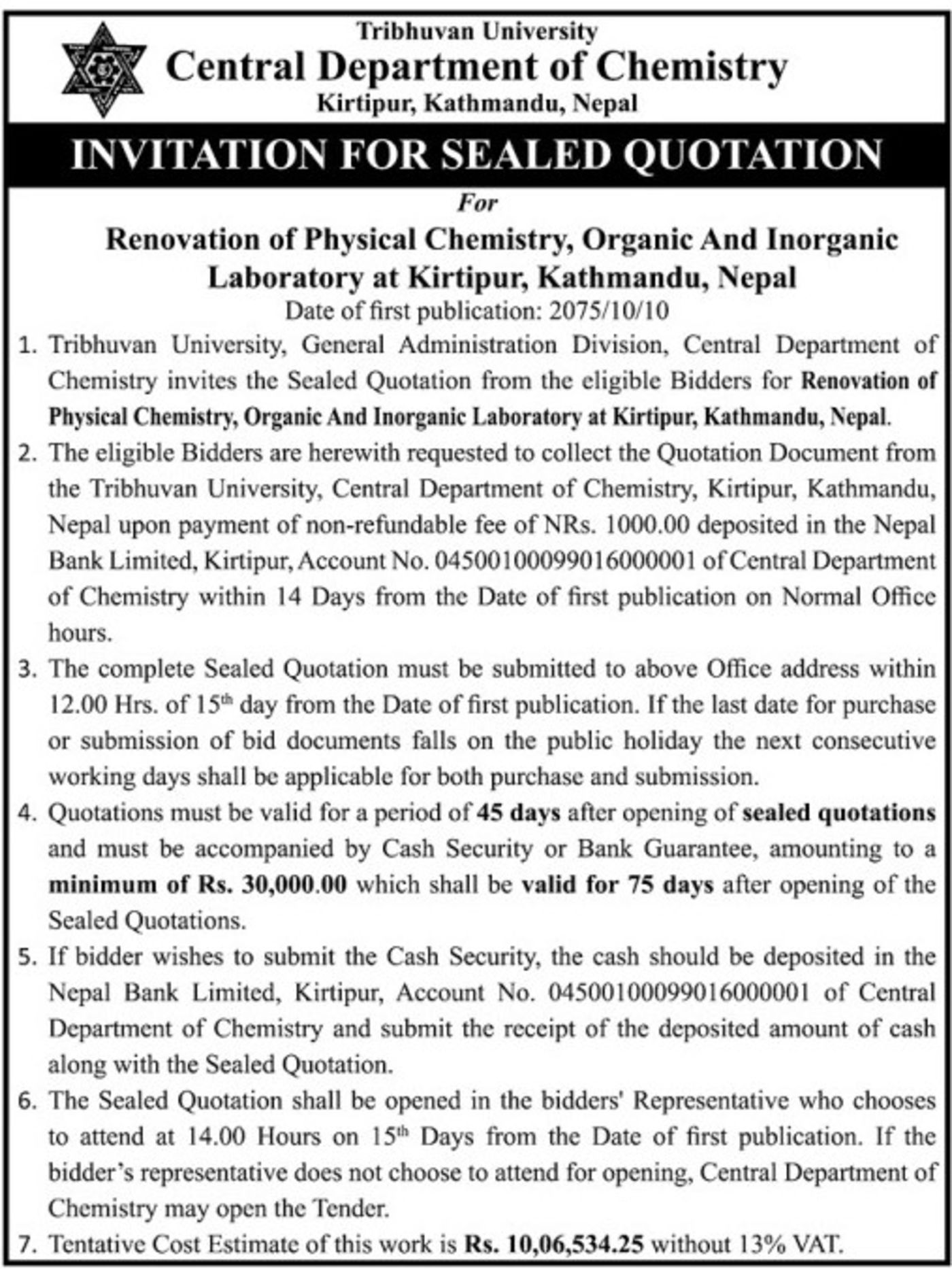 Bids and Tenders Nepal - Invitation For Sealed Quotation