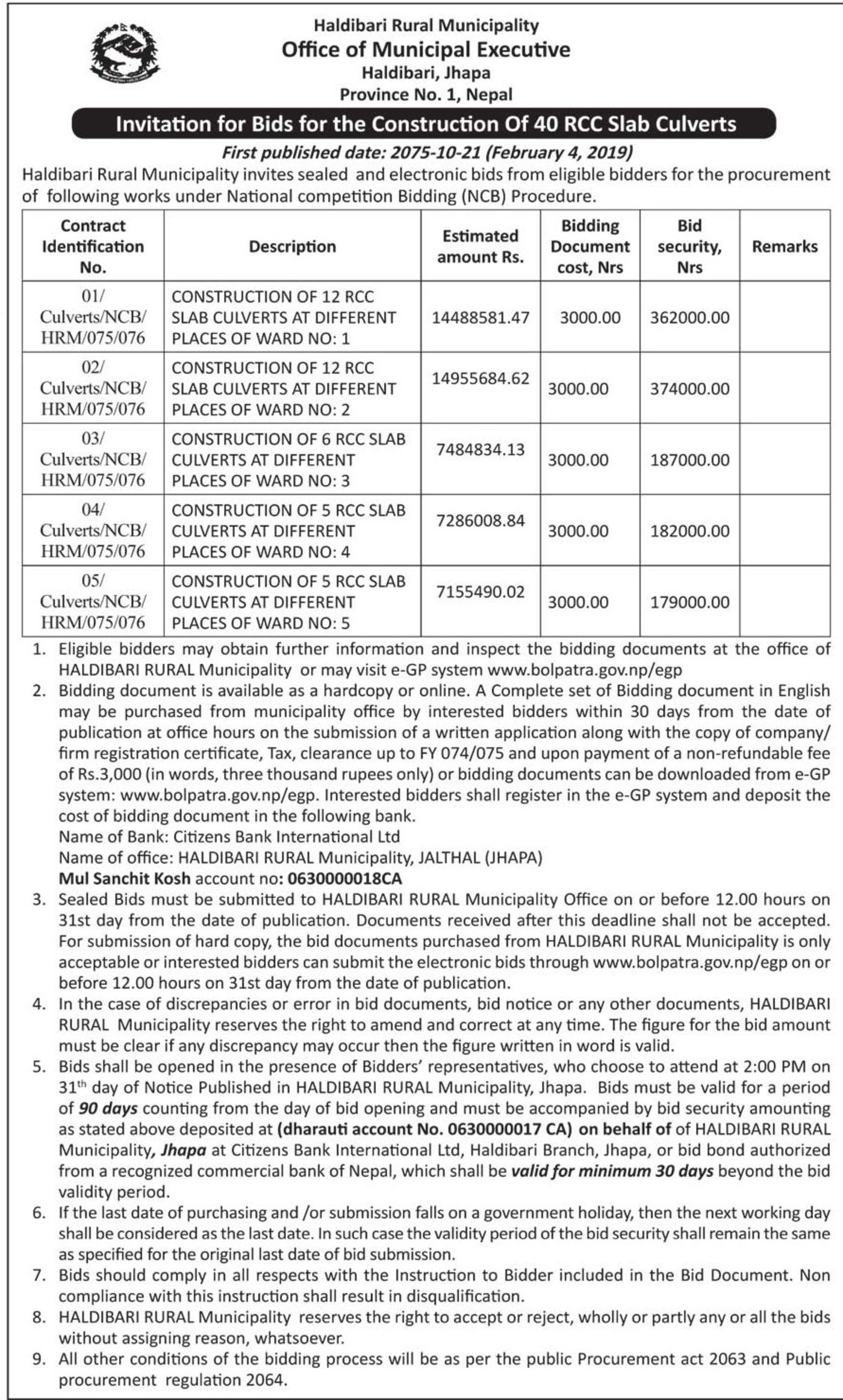 Bids and Tenders Nepal - Invitation For Bids - Construction Of 40