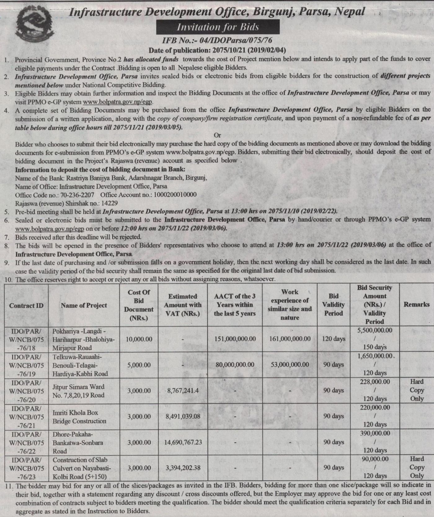 Bids and Tenders Nepal - Invitation for Bids - Construction of Roads