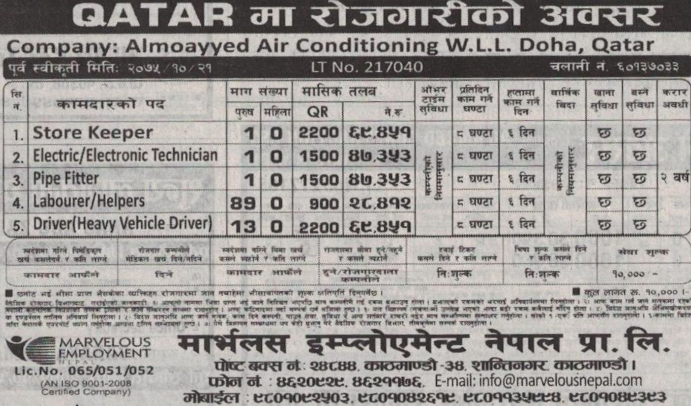 Jobs Nepal - Vacancy - Store Keeper, Electric/Electronic Technician
