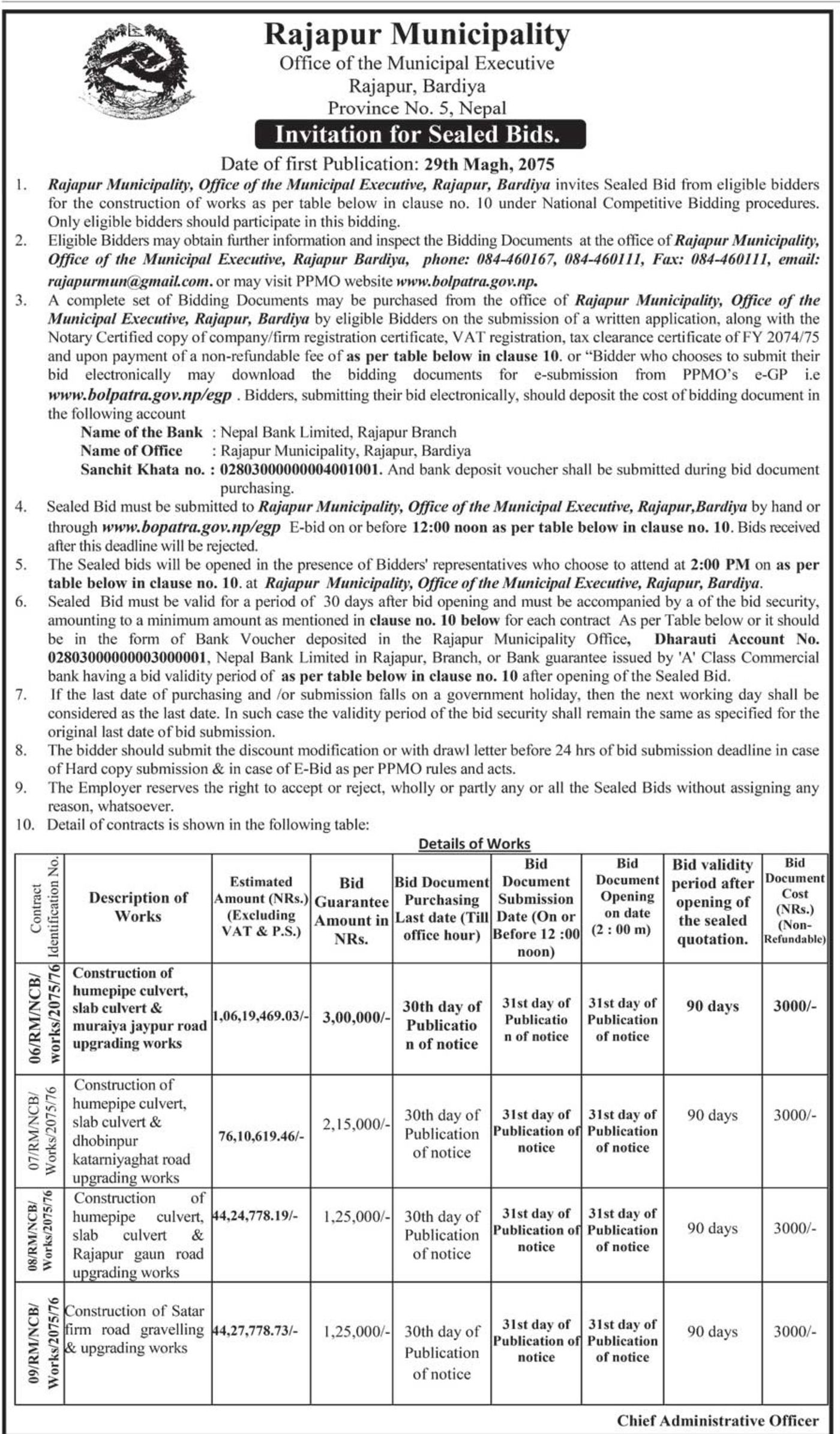 Bids and Tenders Nepal - Invitation For Bids - Construction