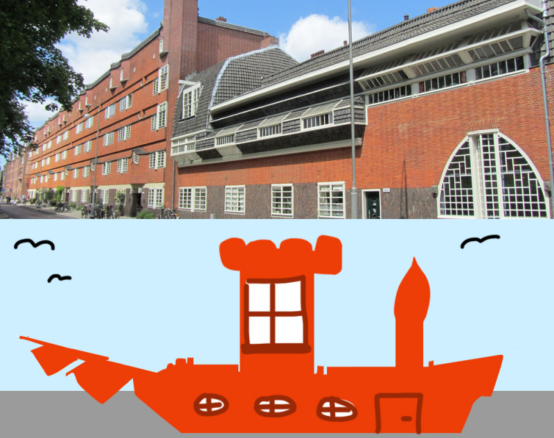In the upper half of the image: A photo of Het Schip. In the lower half: A really bad drawing in photoshop by me of an actual ship with a tower on it, windows, and a door. A five year old would've done a better job.