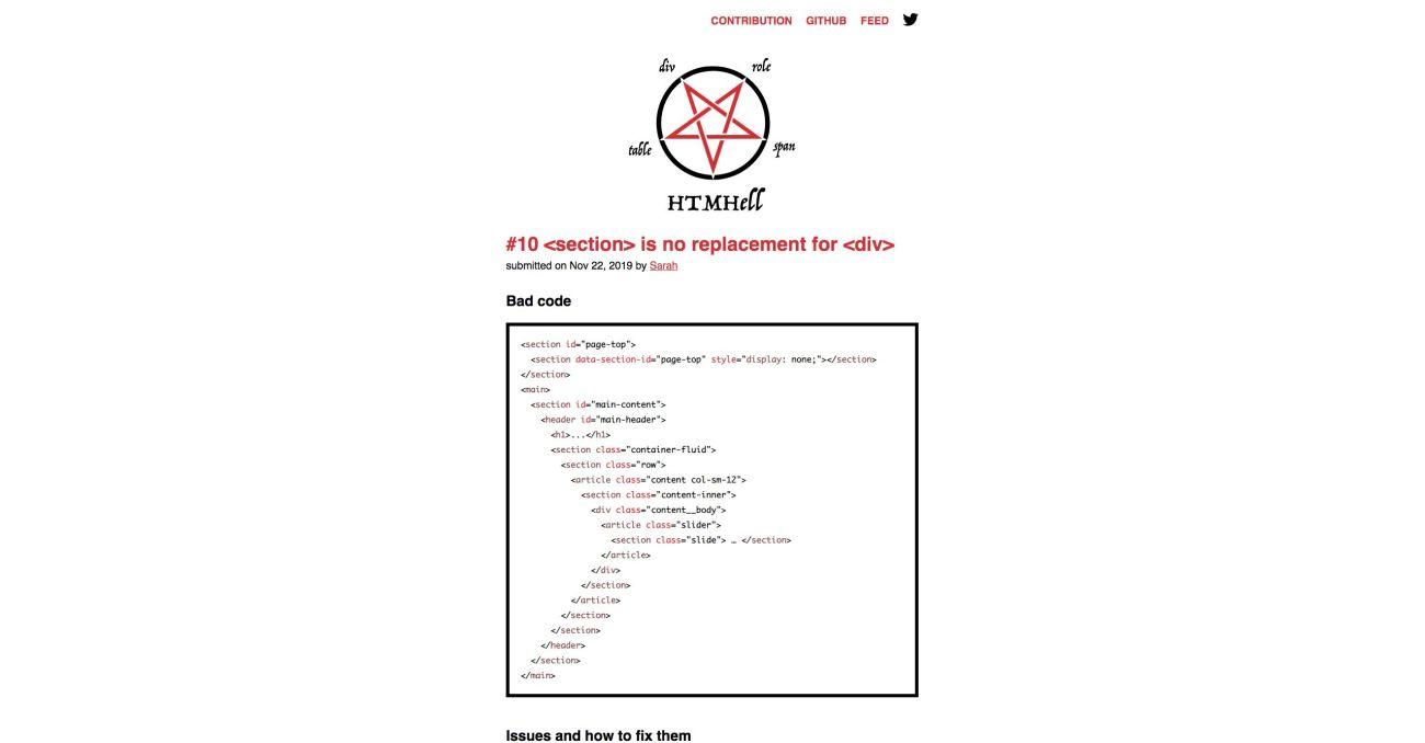 htmhell.com. Screenshot.