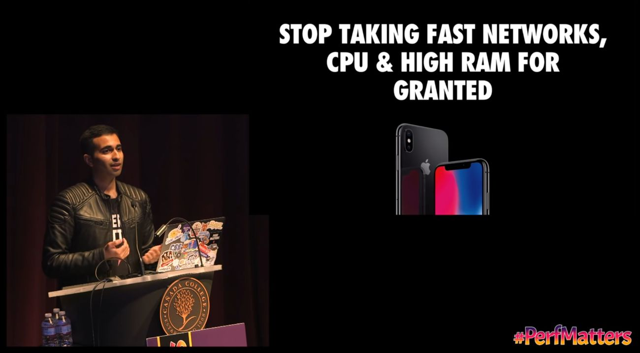 """Addy Osmani on the left on stage at #PerfMatters conf. A slide on the right """"Stop taking fast networks, CPU & high RAM for granted""""."""