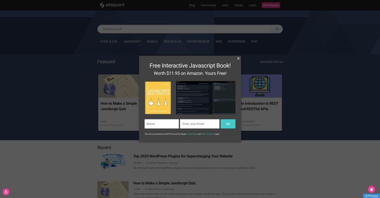 Overlay on the sitepoint.com hopmepage. Screenshot.