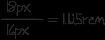 18px/16px = 1.125rem
