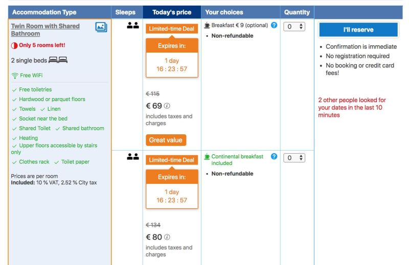 Room selection screen on booking.com. Red and orange messages stressing people to book quickly.