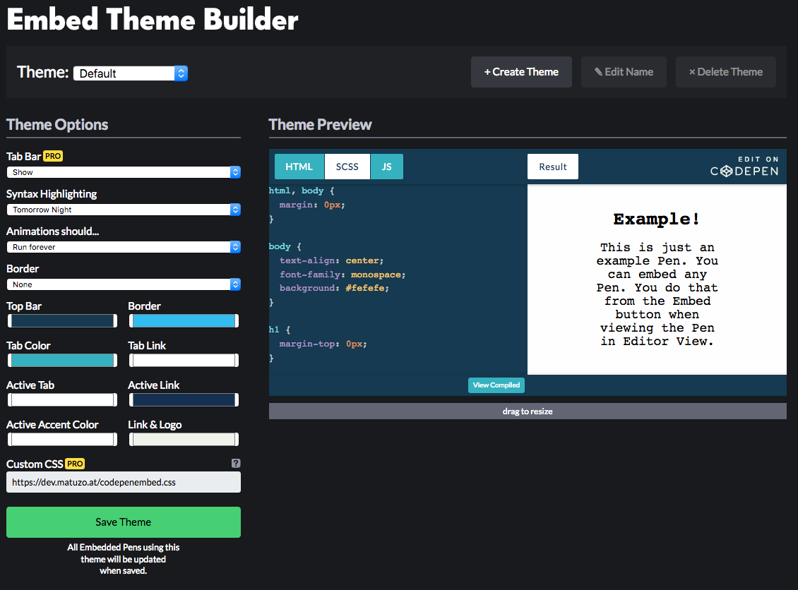 The Embed Theme Builder with several options to change the look and feel of embedded Pens.