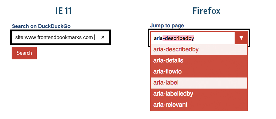 simple search form on the left in IE, combobox on the right in Firefox