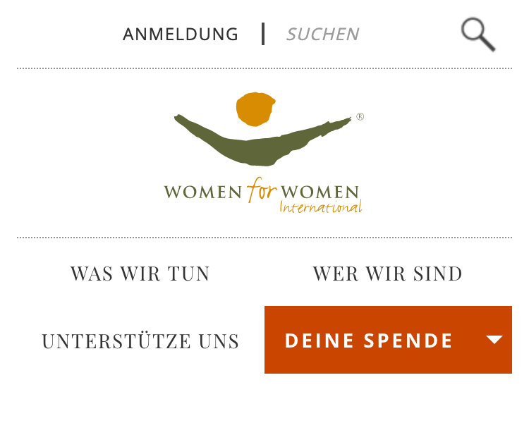 """""""Women for women"""" has a top bar with a link and a search, below a centered logo and below the logo two rows with three links and a button."""