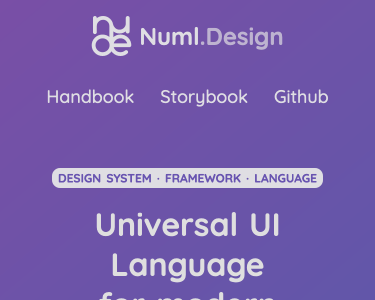 numl.design has a centered logo at the top and a single row with three links below.