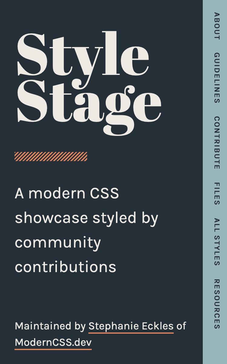 """""""A """"Style Stage"""" theme. The navgation is rotated 90 degrees and positioned on the right side of the viewport"""