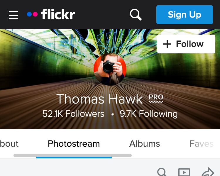 There are 6 links in the navigation on flickr profile pages displayed in a single scrollable row. They use gradients to indicate that the row is scrollable.