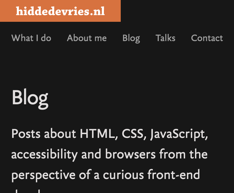hiddedevries.nl has a left aligned logo at the top and a single row with five links below with items split evenly.
